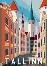 Summer Day In Tallinn, Estonia. Retro Style Poster.