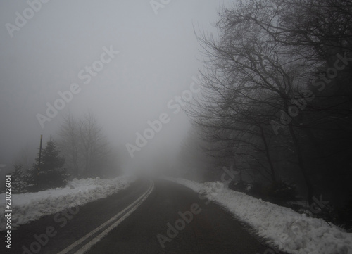 Fototapety, obrazy: Mountain road, fog, clouds and snow in the forest in the mountains Dirfis on the island of Evia, Greece
