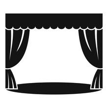 Theatrical Curtain Icon. Simple Illustration Of Theatrical Curtain Vector Icon For Web Design Isolated On White Background