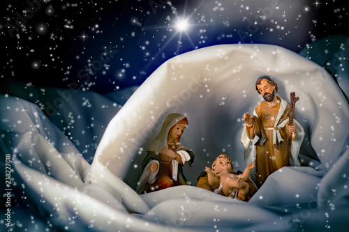 Natale - Presepe con capanna e stella cometa - Buy this stock