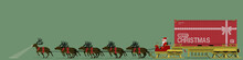 Santa And His Nine Reindeer Are Delivering The Big Present In The Container.
