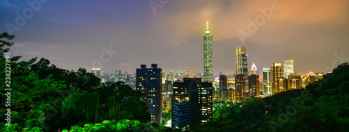 фотография  Taipei city skyline and downtown buildings with skyscraper at Twilight time in T