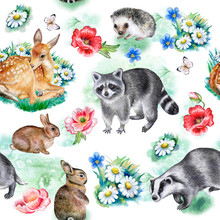 Forest Animals Pattern Isolated On White Background. Set Of Realistic Animals. Seamless Pattern. Illustration. Watercolor. Hand Drawn. Image. Hand Painting