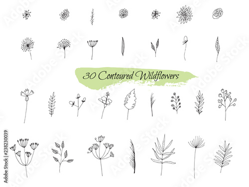 Obraz na plátně A collection of handmade sketches with plants