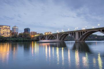 Dusk over Key Bridge. Shot from Georgetown in Washington DC looking towards Rosslyn, Virginia.