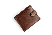 Brown Men's Leather Wallet Isolated On White Background.