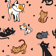 Vector Seamless Pattern Of A Variety Of Illustrated Cats