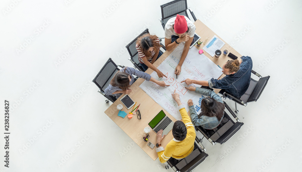 Fototapety, obrazy: Top view scene of Asian and Multiethnic Business people with casual suit working with brainstorming and pointing to the design concept in the modern workplace, people business group concept