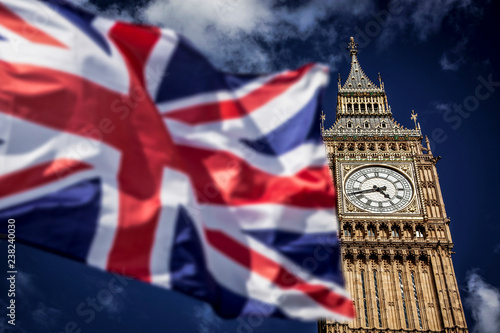 Fotografie, Obraz brexit concept - double exposure of flag and Westminster Palace with Big Ben
