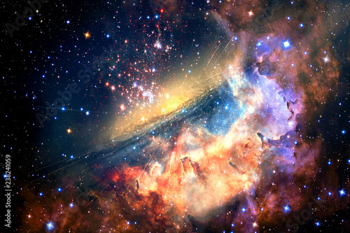 Abstract Artistic Unique Glowing Multicolored Galaxy in outer space Wallpaper Mural