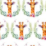Giraffe watercolor illustration. Seamless pattern on white background. - 238241633