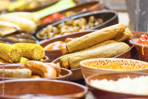 Foto op Aluminium Assortiment Food street festive of traditional asian cuisine on market