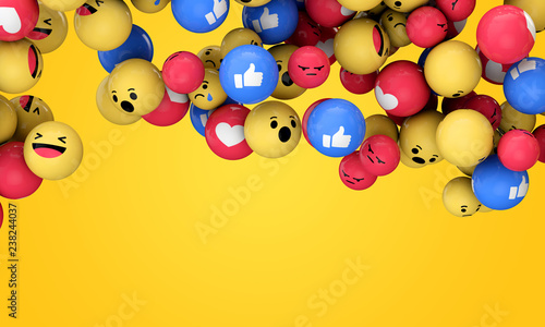 Emoji emoticon character background collection. 3D Rendering Wallpaper Mural