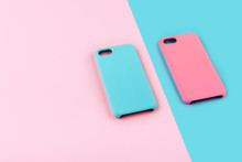 Blue And Pink Pastel Color Of Phone Case On Colorful Background