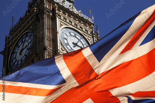 brexit concept - double exposure of flag and Westminster Palace with Big Ben Canvas Print