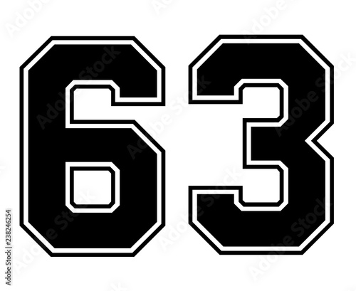 Fotografia  Classic Vintage Sport Jersey Number 63 in black number on white background for american football, baseball or basketball / logos and t-shirt