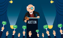 Auctioneer And Bidding. Vector...