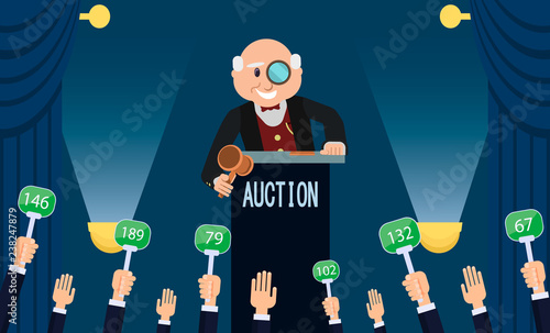 Auctioneer and Bidding. Vector Flat Illustration. Canvas Print