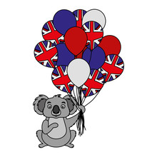 Koala With Hat And Balloons Australian Flag