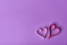 Hearts Made Of Ribbons And Space For Text On Color Background, Top View
