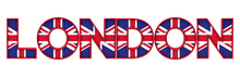 London City Word Made From Union Jack Flag Lettering. 3D Rendering