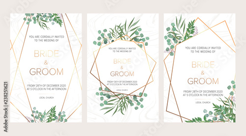 Fotografía  Wedding floral invitation, thank you modern card: rosemary, eucalyptus branches on white marble texture with a golden geometric pattern