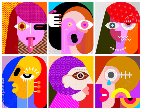Art abstrait Six Portraits vector illustration