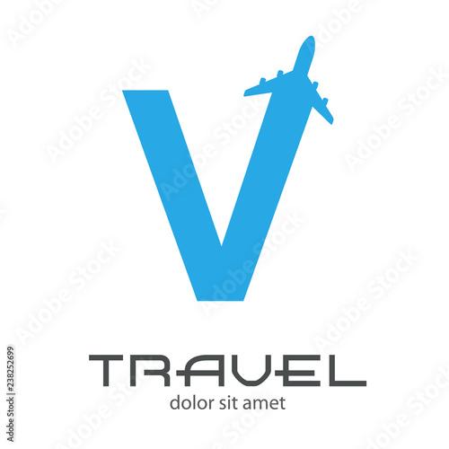 Fotografie, Obraz  Logotipo TRAVEL con letra V con avión en color azul