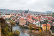 panoramic view of medieval town of cesky krumlov, czech republic