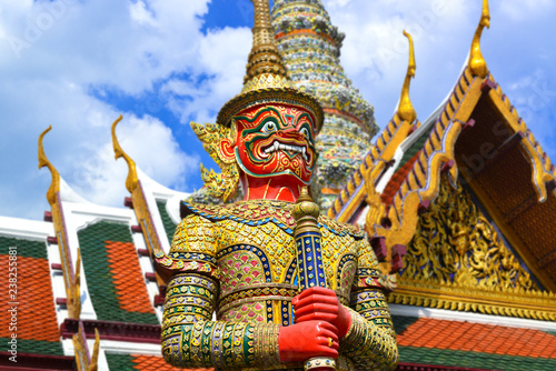 Spoed Foto op Canvas Bangkok Demon Guardian at the grand palace Bangkok.