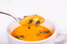 Pumpkin Soup Decorated With Pu...
