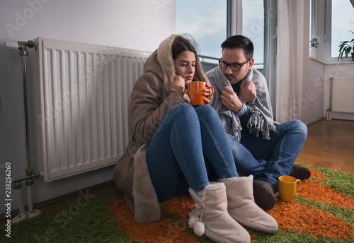 Fotografie, Obraz Couple sitting beside radiator and freezing