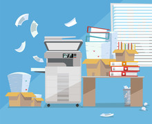 Office Interior With Big Floor Multifunction Copier Printer Scanner, Desk , Clnear Window. Copy Machine With Pile Of Documents, Stack Of Papers In Cardboard Boxes. Flat Cartoon Vector Illustration.