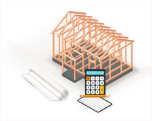 New Wooden Home Construction Framing Isometric Design. Timber Frame House Isolated On White Background.  Architecture Project Planning And Calculation. Vector Illustration