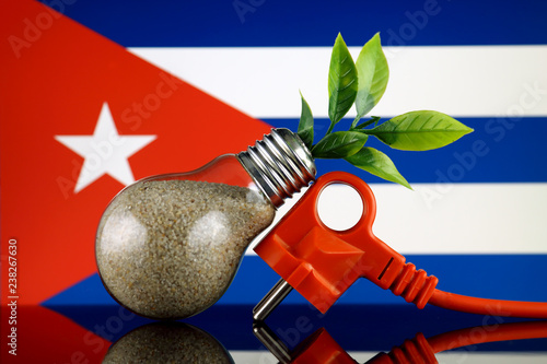 Plug, plant growing inside the light bulb and Cuba Flag Wallpaper Mural