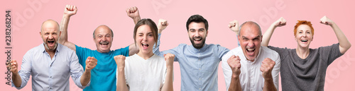 Fotomural  Collage of excited happy people screams with happiness, celebrate great triumph and victory, clench fists, can not believe in success, says