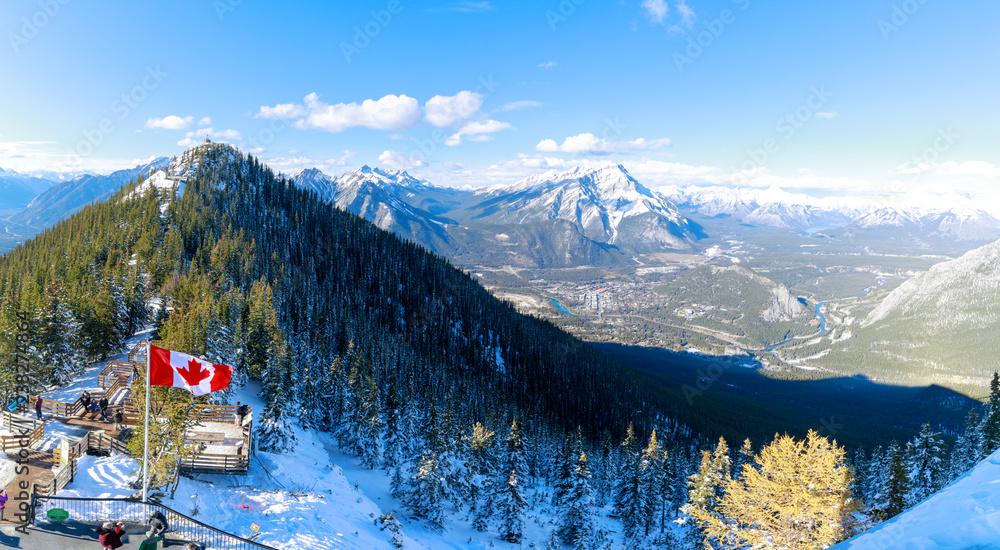 Fototapeta Tourist trails with Canada flag at Sulphur Mountains, Banff national park