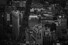 Flatiron District From The Sky In Black And White - New York City, NY