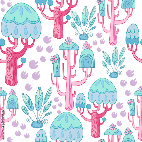picture relating to Printable Textiles referred to as Magical forest. Seamless routine with fairy trees and vegetation