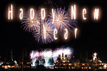 Fireworks Show In Monaco During The Annual International Festival, Yacht Luxury Concept For New Year Celebration