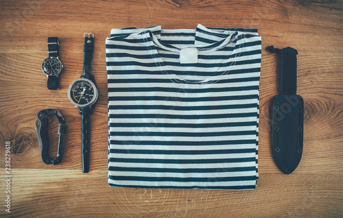 Sailor striped shirt and vintage divers equipment