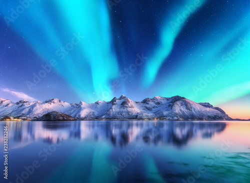 Foto auf Gartenposter Nordlicht Northern lights and snow covered mountains in Lofoten islands, Norway. Aurora borealis. Starry sky with polar lights and snowy rocks reflected in water. Night winter landscape with aurora, sea. Travel