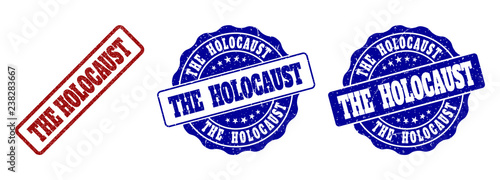 Fotografía THE HOLOCAUST grunge stamp seals in red and blue colors