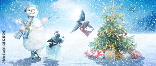 Cadres-photo bureau Piscine Schneemann - Weihnachtsmotiv