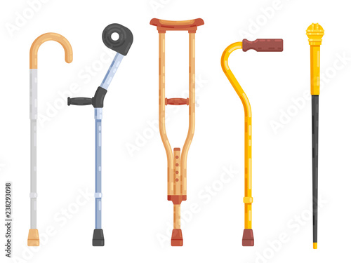 Sticks and crutches isolated on white background Canvas Print