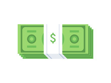 Stack Of Cash Dollar Bills. Paper Money Icon. Flat Design. Vector Illustration