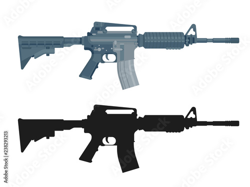 Fotomural M16 assault rifle isolated on white
