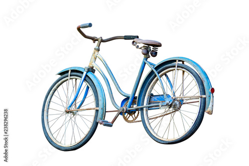 Türaufkleber Fahrrad Old blue bike isolated on white background, clipping path.
