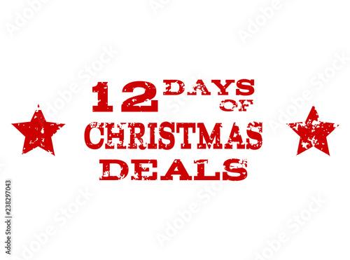 Tela  Grunge red 12 DAYS OF CHRISTMAS stamp seal