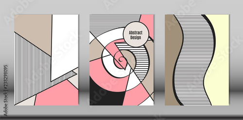Fotografía  Covers Templates Set with Bauhaus and Graphic Geometric Elements